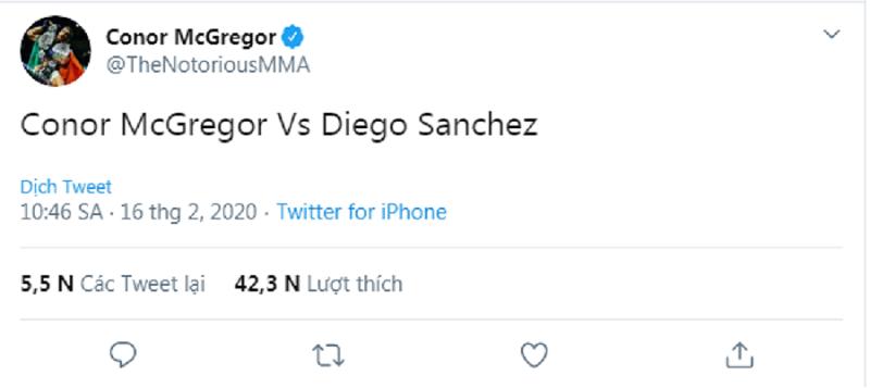"Conor McGregor ""cà khịa"" Diego Sanchez sau trận thắng ""trời cho"" trước Michel Pereira"