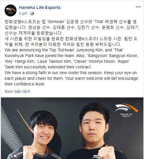 Hanwha Life Esports mua SoHwan và Thal, gia hạn hợp đồng với Sangyoon, Lava và Key - Ảnh 1.