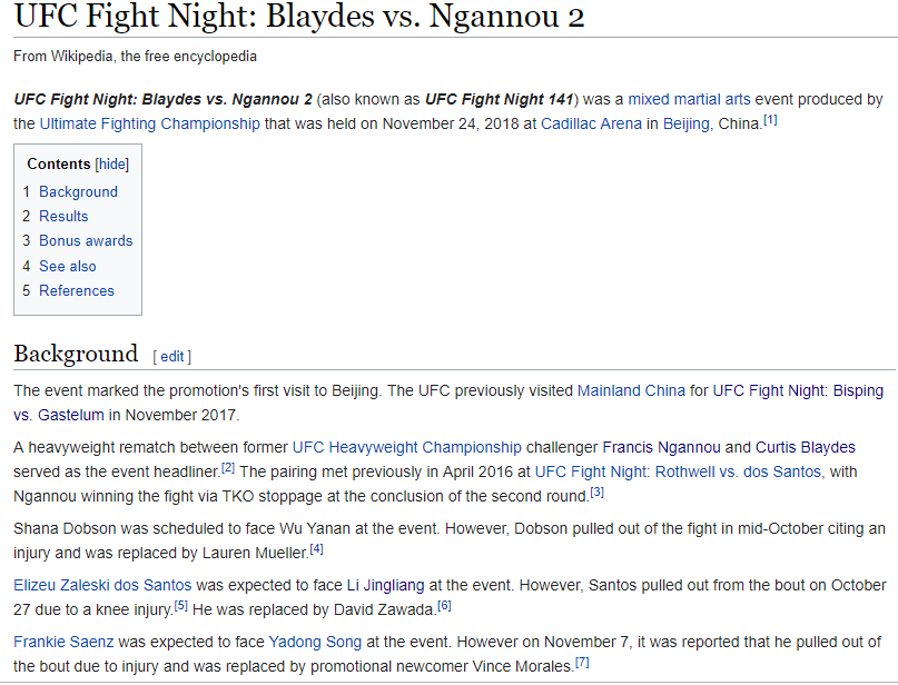 Antifan phá UFC Fight Night Bắc Kinh bằng... Wikipedia - Ảnh 6.