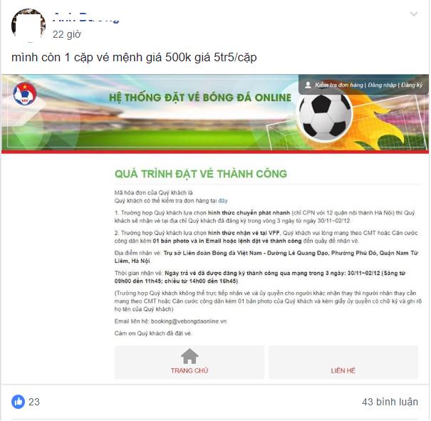 """Phe vé đội giá 1 cặp trận Việt Nam – Philippines tới 7 triệu, ngang nhiên """"giao hàng"""" tận nơi - Ảnh 3."""