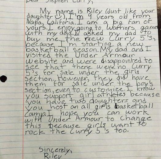Viết thư cho bé gái, các đồng nghiệp NBA còn phải học hỏi Stephen Curry - Ảnh 2.