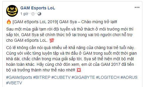 Sya trở lại với đội tuyển cũ GAM Esports trong mùa chuyển nhượng VCS - Ảnh 1.