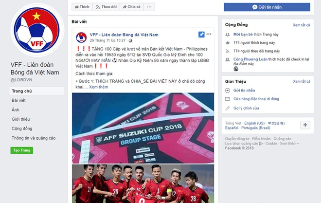 Cảnh giác với chiêu lừa đảo tặng vé bán kết AFF Cup 2018 trên Facebook - Ảnh 1.