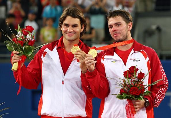 Federer với tâm HCV nội dung đôi nam tại Olympic Bắc Kinh cùng Stan Wawrinka