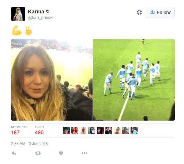 Karina đến sân tiếp sức cho Aguero