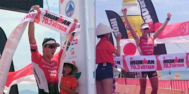 James Cunnama và Caroline Steffen, 2 nhà đương kim vô địch Nam-Nữ IRONMAN 70.3 Vietnam 2015 (Ảnh: Ironman.com)