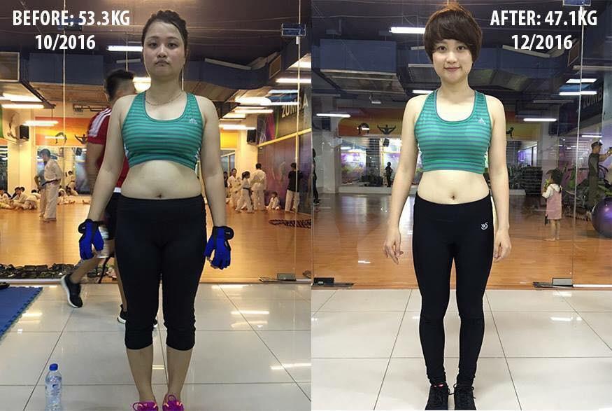 Bức ảnh được chia sẻ trên cộng đồng mạng về kết quả giảm cân của Linh