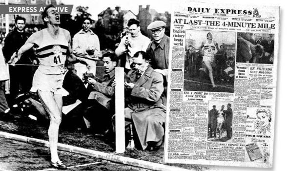Roger Bannister lên trang nhất trên báo Daily Express