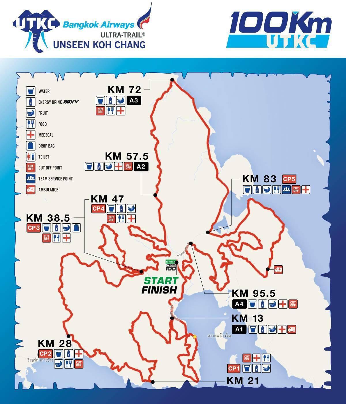 Sơ đồ đường chạy 100km Ultra Trail Koh Chang