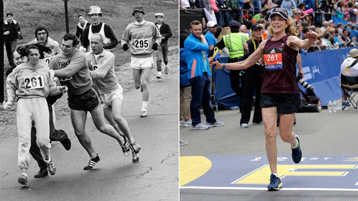 Kathrine Switzer, người phụ nữ đầu tiên trong lịch sử chạy giải Boston Marathon một cách chính thức, mở ra cuộc cách mạng về giới ở giải chạy danh tiếng Boston Marathon cách đây 50 năm. Bà mang số Bib 261 (cự li maratthon 26,1 dặm) ở giải chạy Boston Marathon 2017