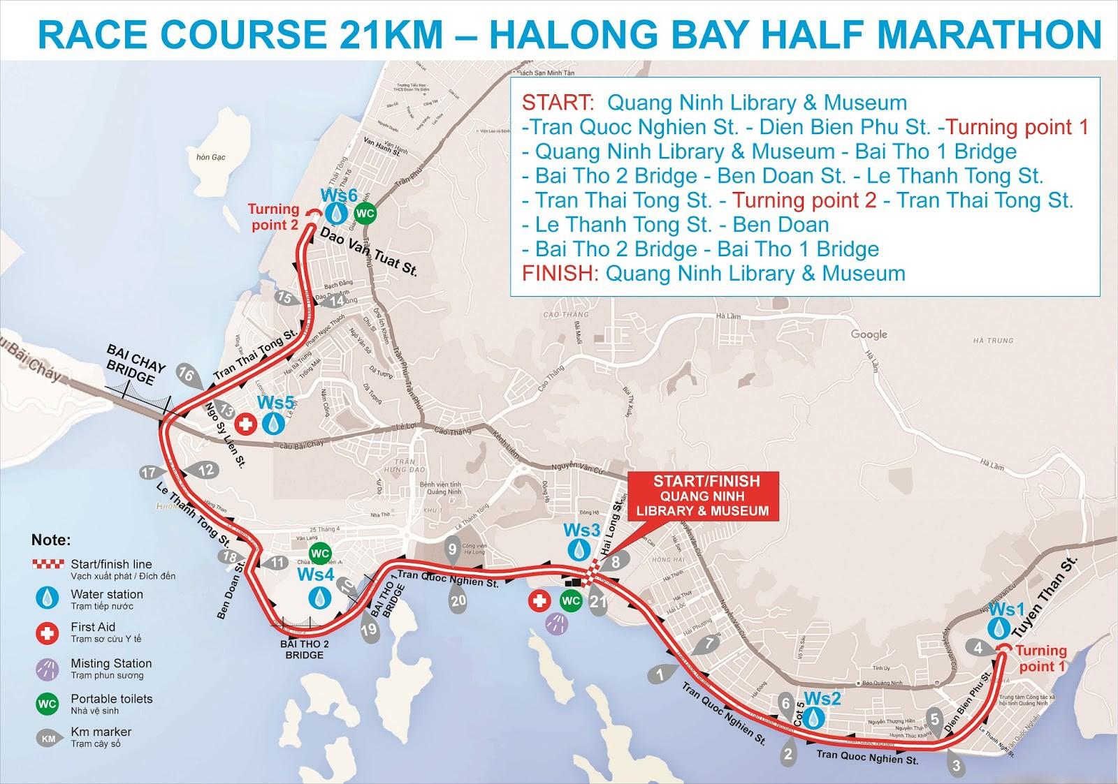 Sơ đồ đường chạy Ha Long Heritage Marathon 2016 21 km