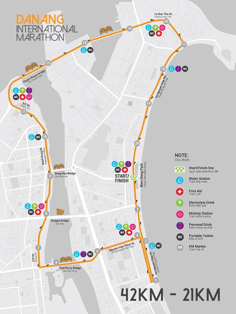Sơ đồ đường chạy Da Nang International Marathon 21 km và 42 km