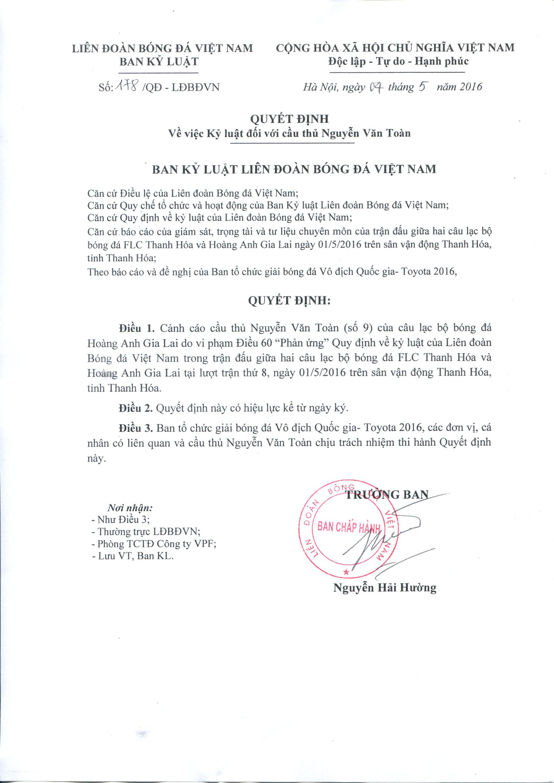 Quyết định cảnh cáo Văn Toàn từ ban kỷ luật VFF.