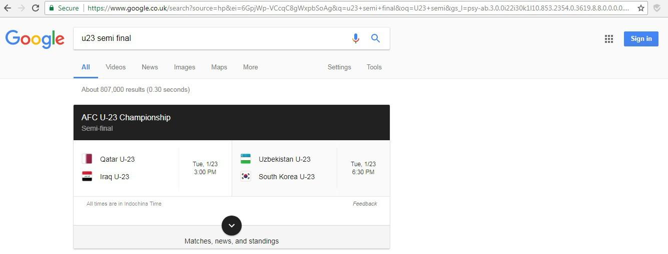 Google không tin U23 Việt Nam đánh bại U23 Iraq?