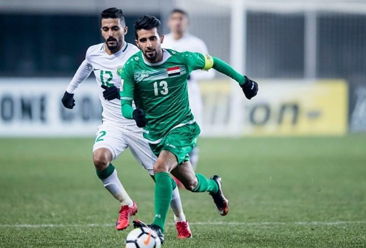 Bashar Resan (số 13) là đội trưởng của U23 Iraq.