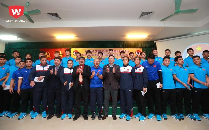 U23 Việt Nam đã làm lễ xuất quân thi đấu tại VCK U23 châu Á 2018 vào sáng nay (29/12). Hình ảnh: Hải Đăng.