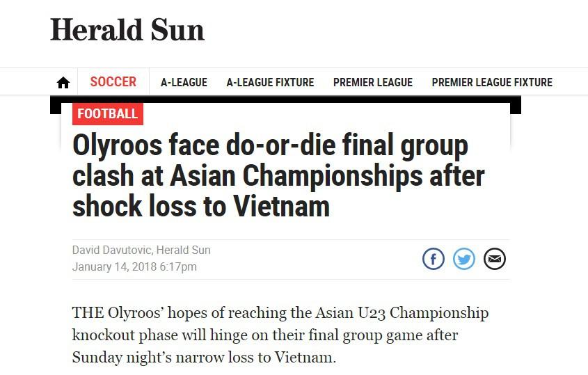 Tờ Herald Sun gọi thất bại trước U23 Việt Nam là cú sốc.
