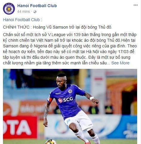 Trang fanpage của Hà Nội FC xác nhận Hoàng Vũ Samson trở lại.