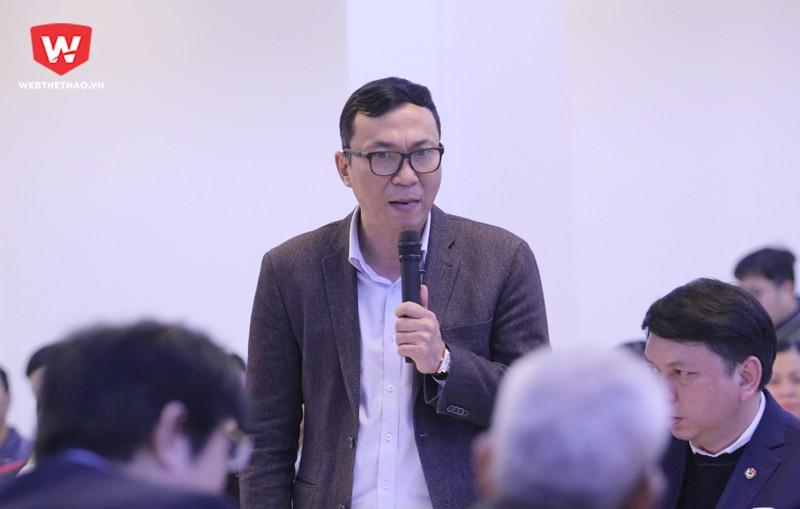 Ông Trần Quốc Tuấn, Phó Chủ tịch VFF, là người đầu tiên đứng lên thừa nhận có sự thiếu trong sạch ở Giải VĐQG. Hình ảnh: Trung Thu.