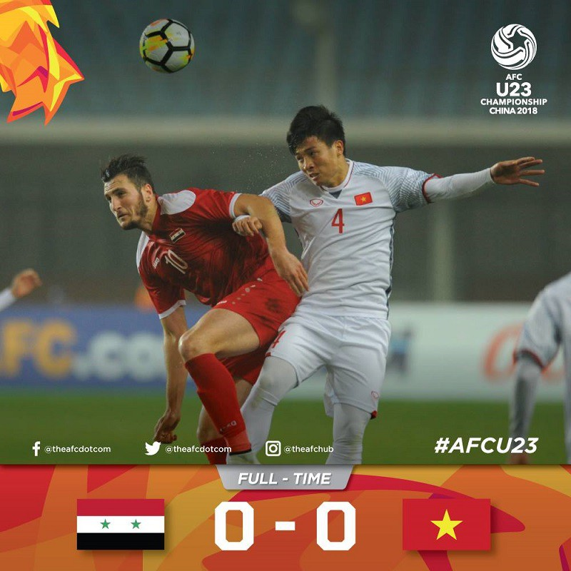 Trận hòa này của U23 Việt Nam là thành quả của chiến thuật hợp lý và sự lăn xả của tất cả các cầu thủ. Hình ảnh: AFC.