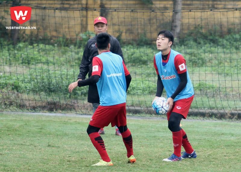 Sáng 30/12, U23 Việt Nam tiến hành buổi đấu tập nội bộ với thời gian 30 phút/hiệp. Đây là lần đầu tiên U23 Việt Nam đá tập sau M150 Cup. Hình ảnh: Trung Thu.
