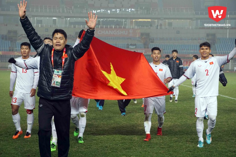 U23 Việt Nam vào tứ kết U23 châu Á là thành tích lịch sử đối với bóng đá nước nhà. Hình ảnh: Anh Khoa.