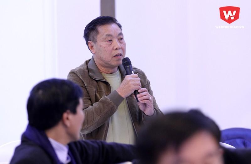 Ông Vũ Mạnh Hải - Cựu cầu thủ Thể Công - Nguyên Tổng biên tập Báo bóng đá. Hình ảnh: Trung Thu.