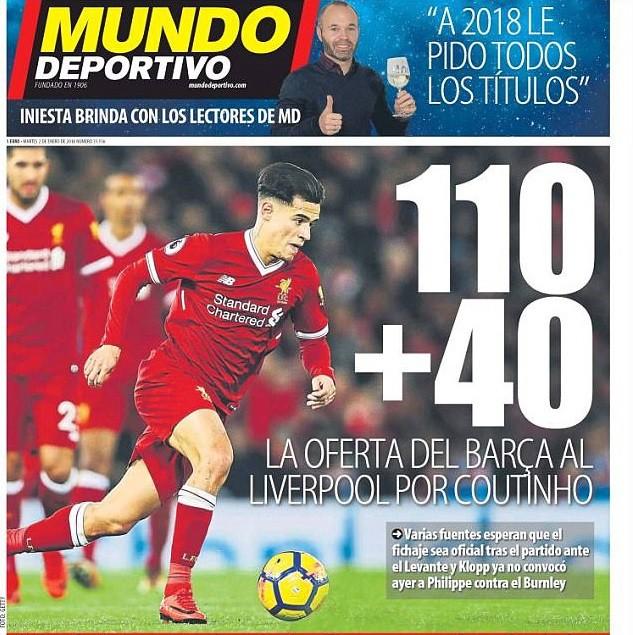 Hình ảnh: Tờ Mundo Deportivo cho biết Barca đề nghị 150 triệu euro cho Coutinho