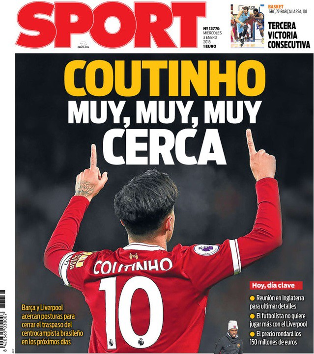 Hình ảnh: Tờ Sport khẳng định Coutinho đang trên đường đến Nou Camp