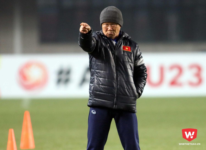 HLV Park Hang Seo nói không với truyền thông quốc tế trước trận đấu quan trọng với U23 Syria. Ảnh: Anh Khoa