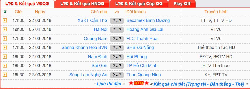 Lịch thi đấu vòng 3 V.League 2018.