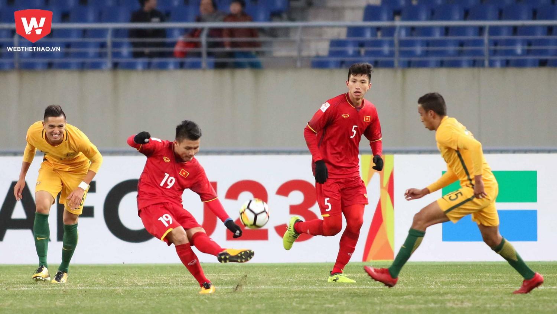 Quang Hải đã có cú đúp bàn thắng ở VCK lần này. Ảnh: Anh Khoa