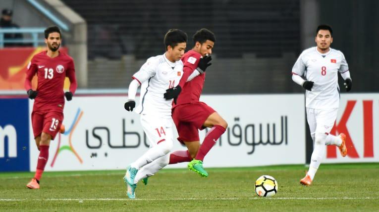 U23 Qatar không thể vượt qua sự lỳ lợm của đoàn quân HLV Park Hang Seo. Ảnh: AFC