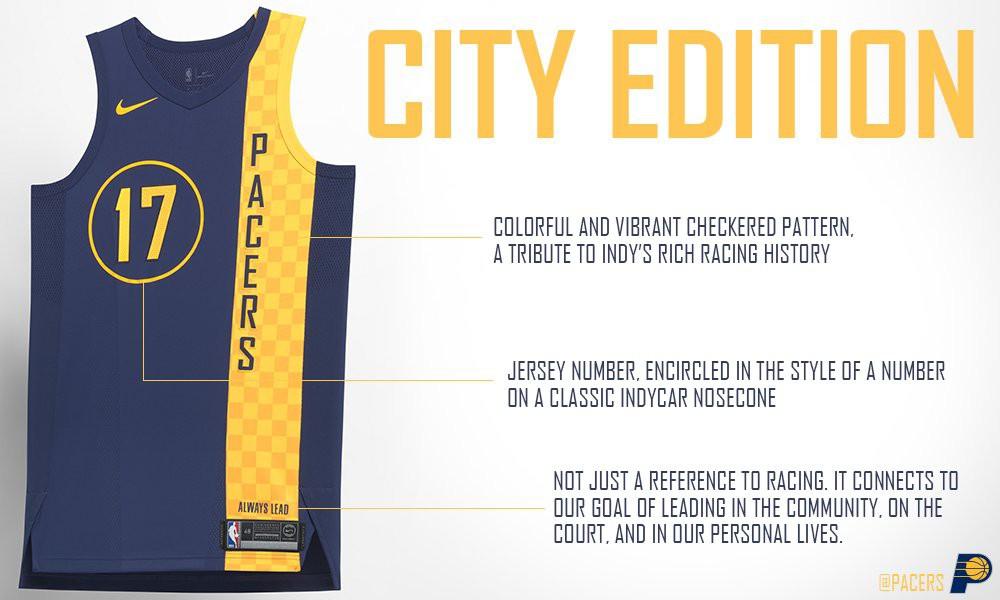 Vẫn sử dụng màu xanh đậm/vàng truyền thống, nhưng đồng mới của Pacers đã cách điệu vạch đích trong đua xe lên phần vạch vàng để hướng về truyền đống đua xe ở thành phố này.