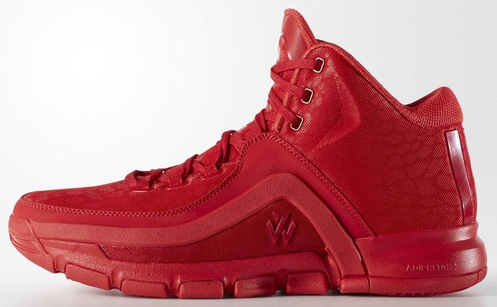 """Adidas J Wall 2 """"Red Carpet"""", phối màu toàn đỏ của J Wall 2."""