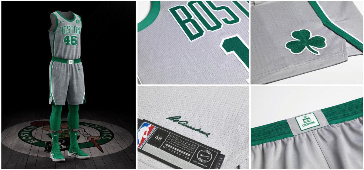 Boston Celtics lại chọn màu xám, chìm trên áo là họa tiết sàn thi đấu mà năm xưa Boston Celtics đã từng sử dụng.