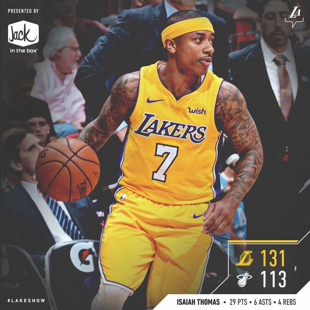 Isaiah Thomas dẫn dắt Lakers đến chiến thắng thứ 4 liên tiếp.