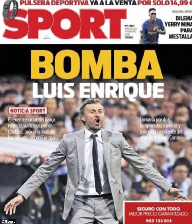 Hình ảnh: Tờ Sport đăng tải thông tin Luis Enrique đạt thỏa thuận dẫn dắt Chelsea