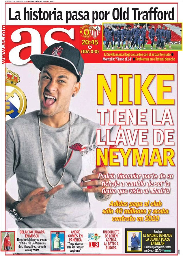 Hình ảnh: Tờ AS đưa tin Nike đang muốn giúp Real mua Neymar