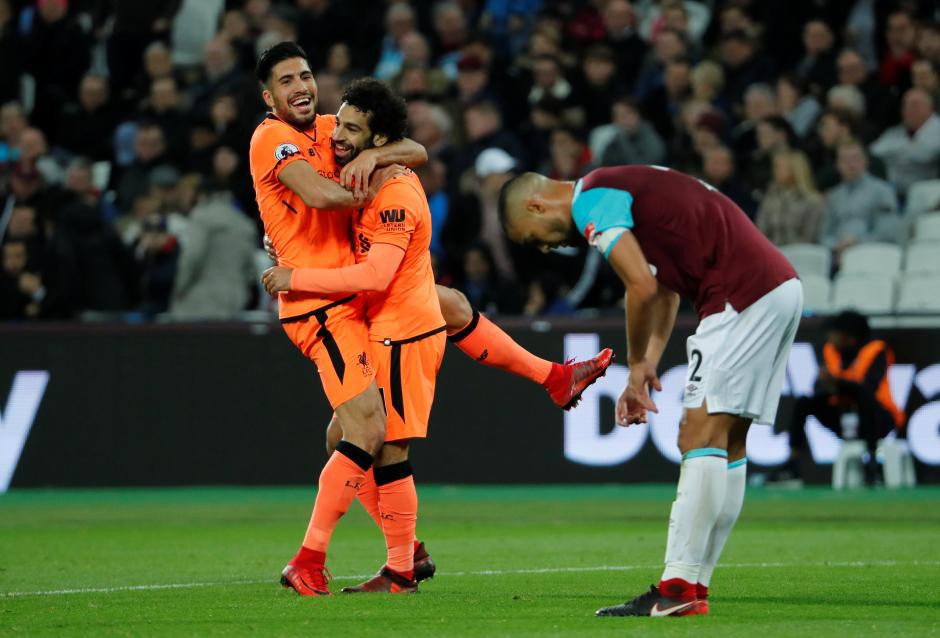 Hình ảnh: Salah đã lập cú đúp vào lưới West Ham ở lượt đi
