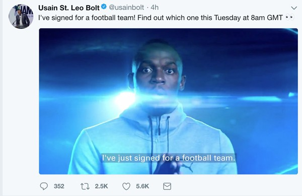 Hình ảnh: Usain Bolt thông báo trên Twitter về việc theo nghiệp cầu thủ