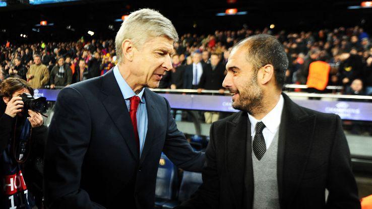 Asene Wenger và Pep Guardiola.