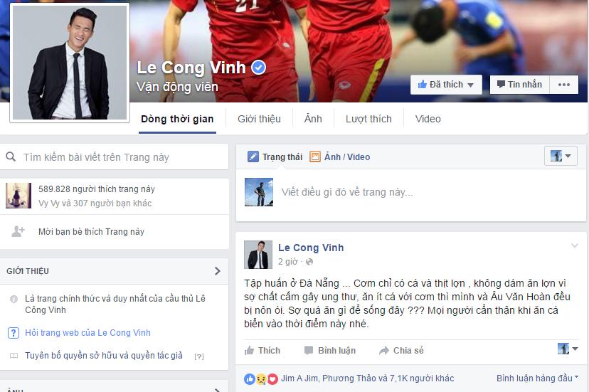 Fanpage của Công Vinh đăng thông tin tiền đạo này bị nôn ói. Ảnh chụp màn hình