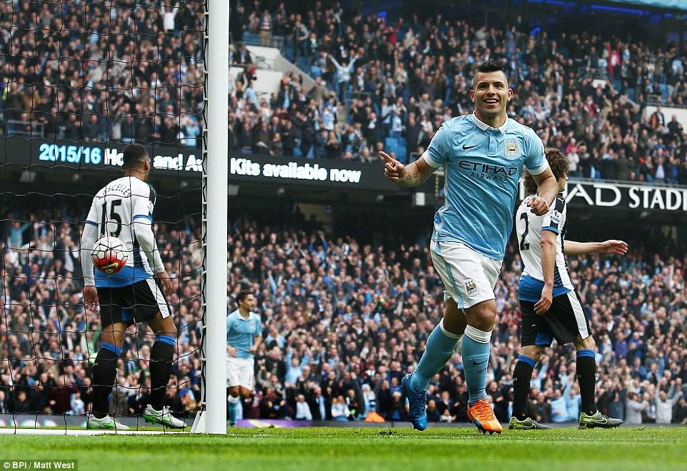 Hình ảnh: Aguero từng ghi 5 bàn trong chiến thắng 6-1 hủy diệt Newcastle
