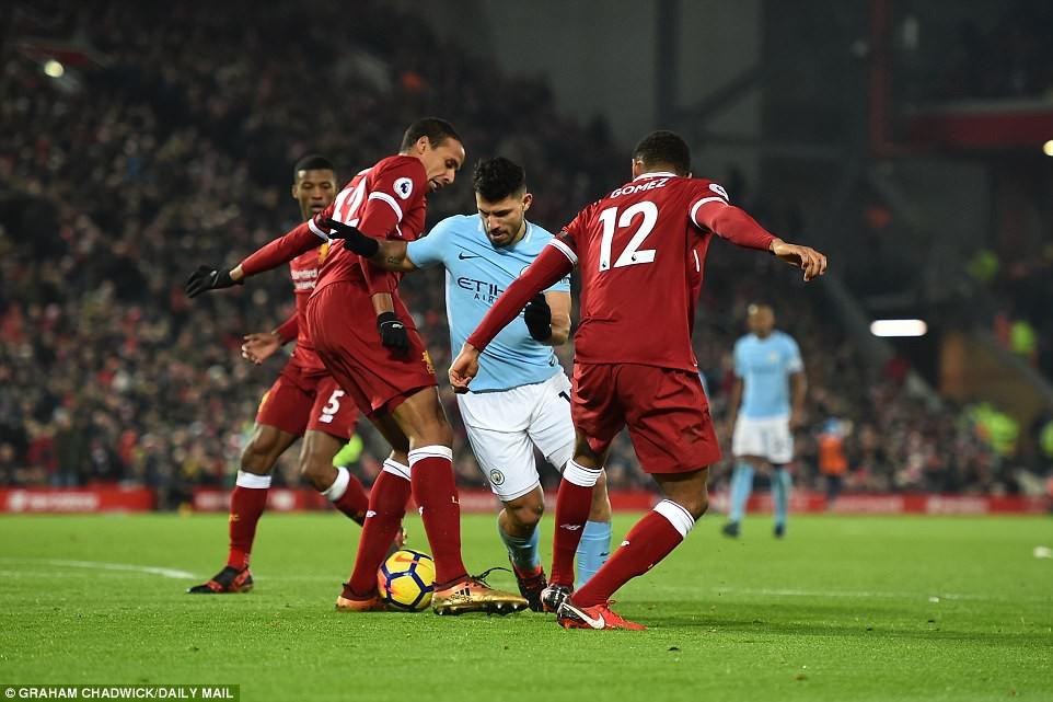 Hình ảnh: El Kun không vượt qua được sự kèm cặp của các HV Liverpool