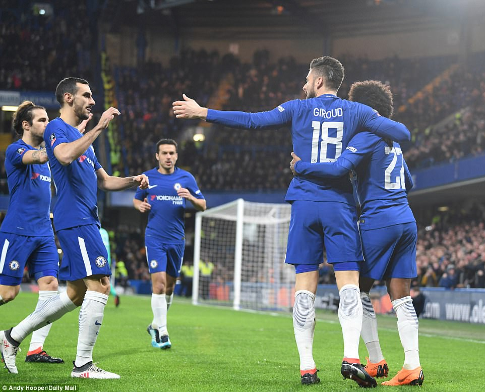 Hình ảnh: Giroud đã tham gia vào 4 bàn/2 trận gần nhất ở Chelsea