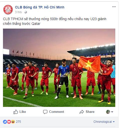 Hình ảnh: CLB TP. Hồ Chí Minh thưởng nóng 500 triệu đồng cho U23 Việt Nam.