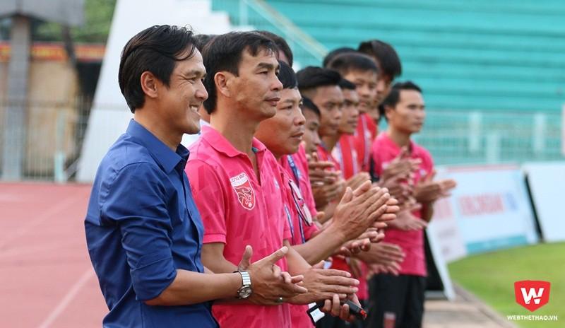 Minh Phương và Long An không quan tâm chuyện các đội bóng bầu Hiển vì lúc này cơ hội của đội bóng còn khá thấp. Ảnh: Quang Thịnh.