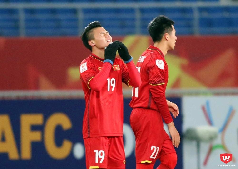 Quang Hải ăn mừng cảm xúc khi ghi hai bàn thắng ở VCK U23 châu Á 2018 cho U23 Việt Nam. Ảnh: Anh Khoa.