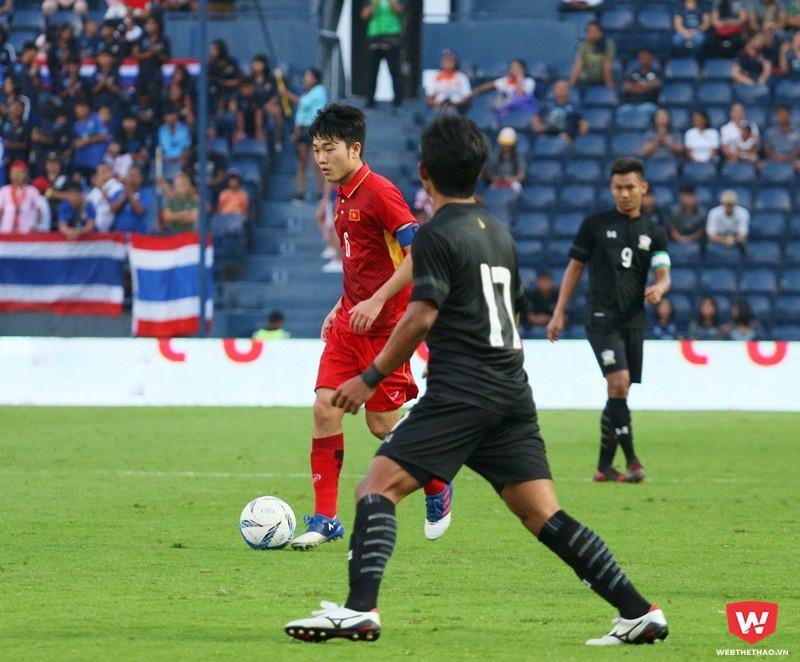 Xuân Trưởng trưởng thành hơn nhiều sau khi được HLV Park Hang Seo ''nhào nặn'' ở VCK U23 châu Á 2018. Ảnh: Quang Thịnh.